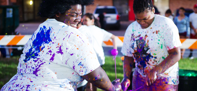 Students participating in UHV Splatterbeat event